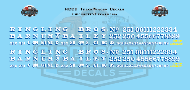 Ringling Bros. & Barnum Bailey Circus RBBB Truck/Wagon Decals HO Scale