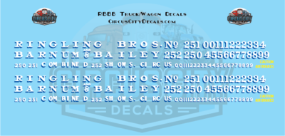 Ringling Bros. & Barnum Bailey Circus RBBB Truck/Wagon Decals O Scale