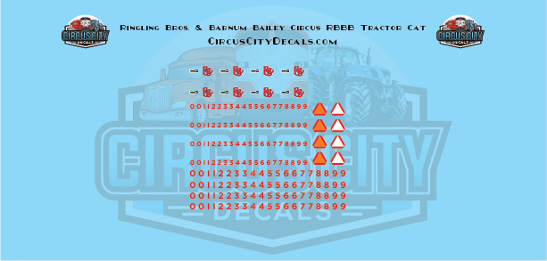 Ringling Bros. & Barnum Bailey Circus RBBB Tractor Cat Decals HO Scale