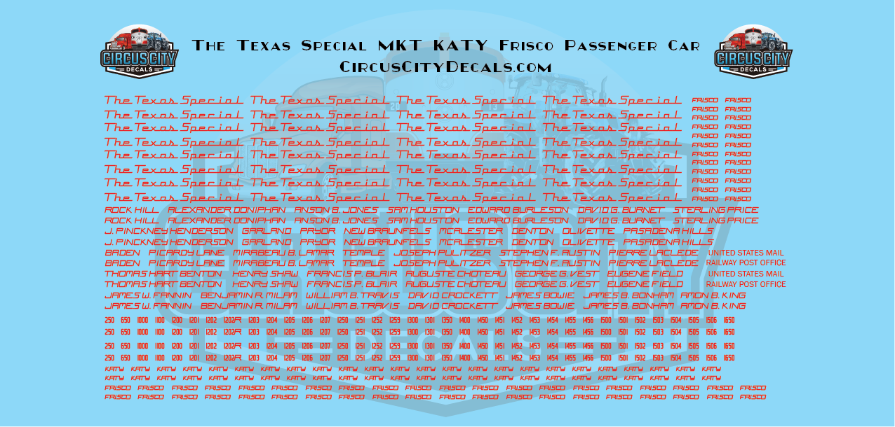The Texas Special MKT KATY Frisco Passenger Car HO Scale Decal Set