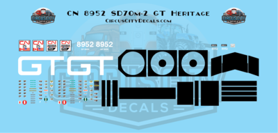 Canadian National 8952 SD70m-2 GT Heritage Decal Set HO Scale Decal Set