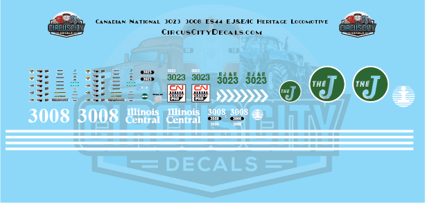 Canadian National ES44 3023 EJ&E 3008 IC Heritage Decal Set HO Scale Elgin, Joliet and Eastern Railway Illinois Central