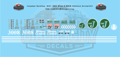 Canadian National ES44 3023 EJ&E 3008 IC Heritage Decal Set N Scale Elgin, Joliet and Eastern Railway​ Illinois Central