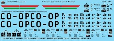 Farmers Elevator Service PS-2 Covered Hopper HO Scale Decal Set