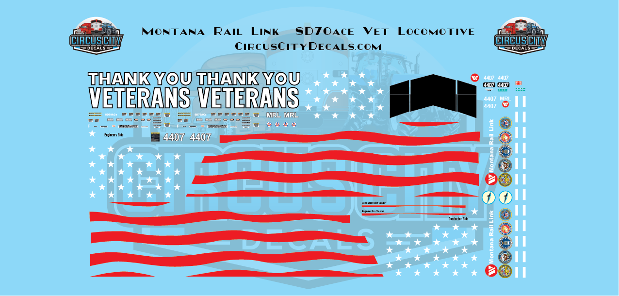 Montana Rail Link SD70ace Veterans 4407 N Scale Decal Set