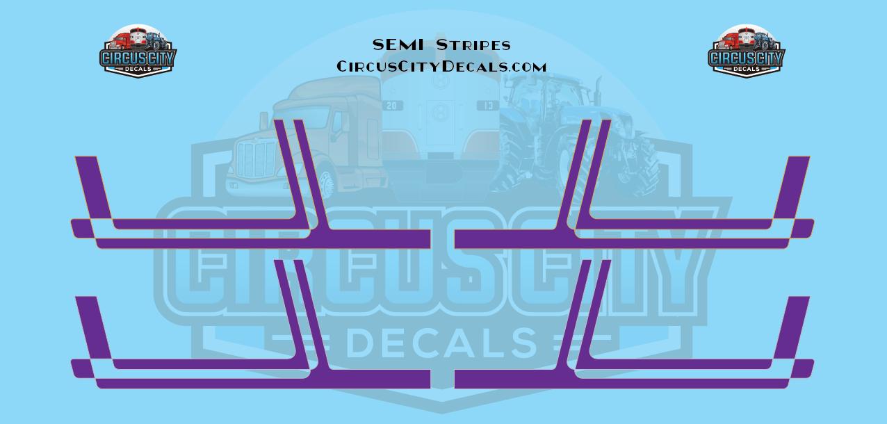 Purple with Gold/Silver Pinstripe Semi Stripe Graphic 1:64 Scale