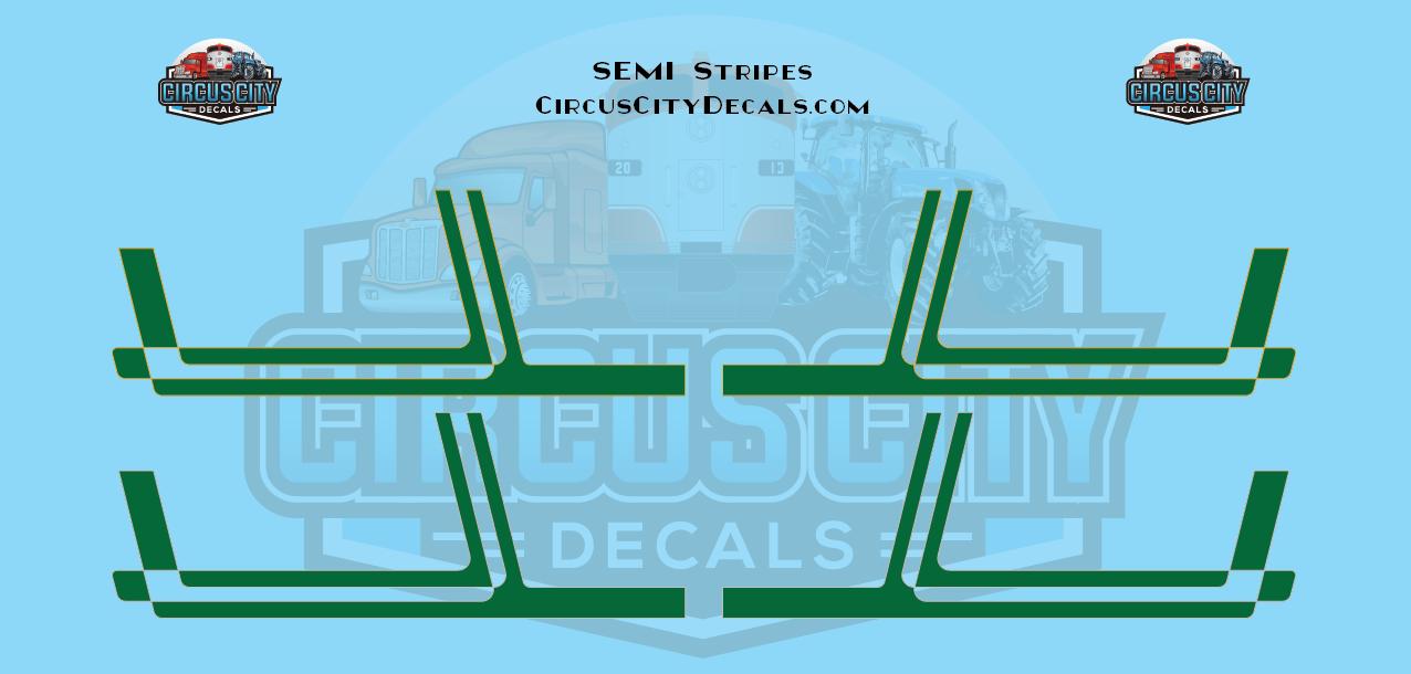 Green with Gold/Silver Pinstripe Semi Stripe Graphic 1:64 Scale