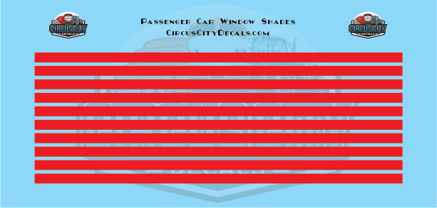 Passenger Car Window Shades Red HO Scale