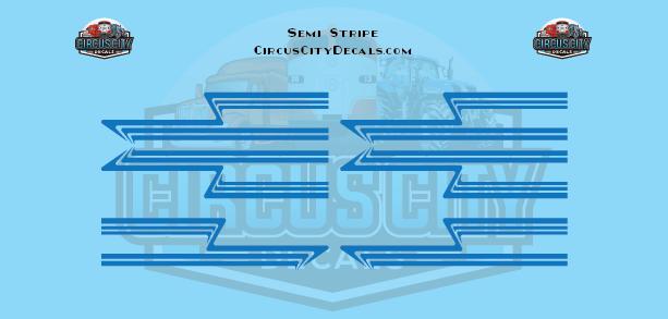 Blue Semi Stripe Graphic 1:64 Scale