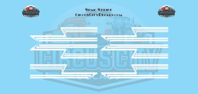 White Semi Stripe Graphic 1:64 Scale
