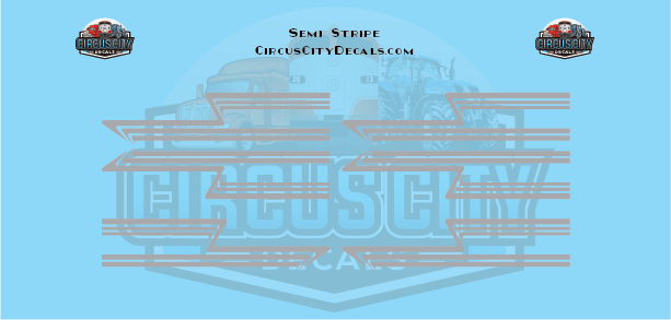 Gray Semi Stripe Graphic 1:64 Scale