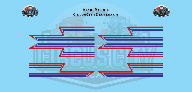 Red Purple Blue Semi Stripe Graphic 1:64 Scale