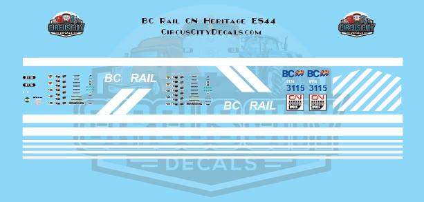 Canadian National ES44 3115 BC Rail Heritage Decal Set N