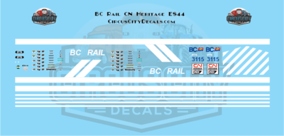 Canadian National ES44 3115 BC Rail Heritage Decal Set HO