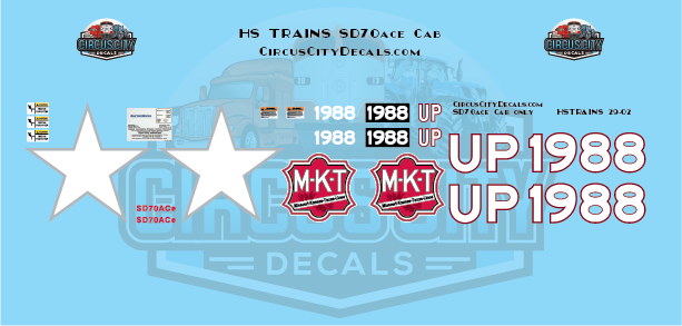 Union Pacific Heritage MKT SD70ace Cab Only Decal Set G Scale USA Trains