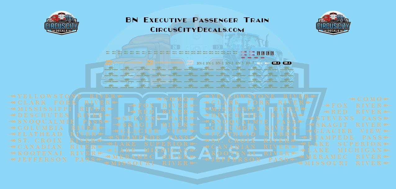 BN Burlington Northern Executive Passenger Train Decals HO Scale F7 E9