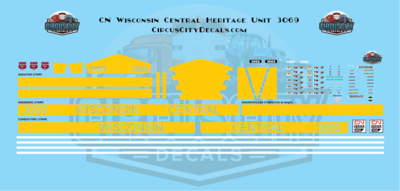 Canadian National ES44 3069 Wisconsin Central Heritage Decal Set HO