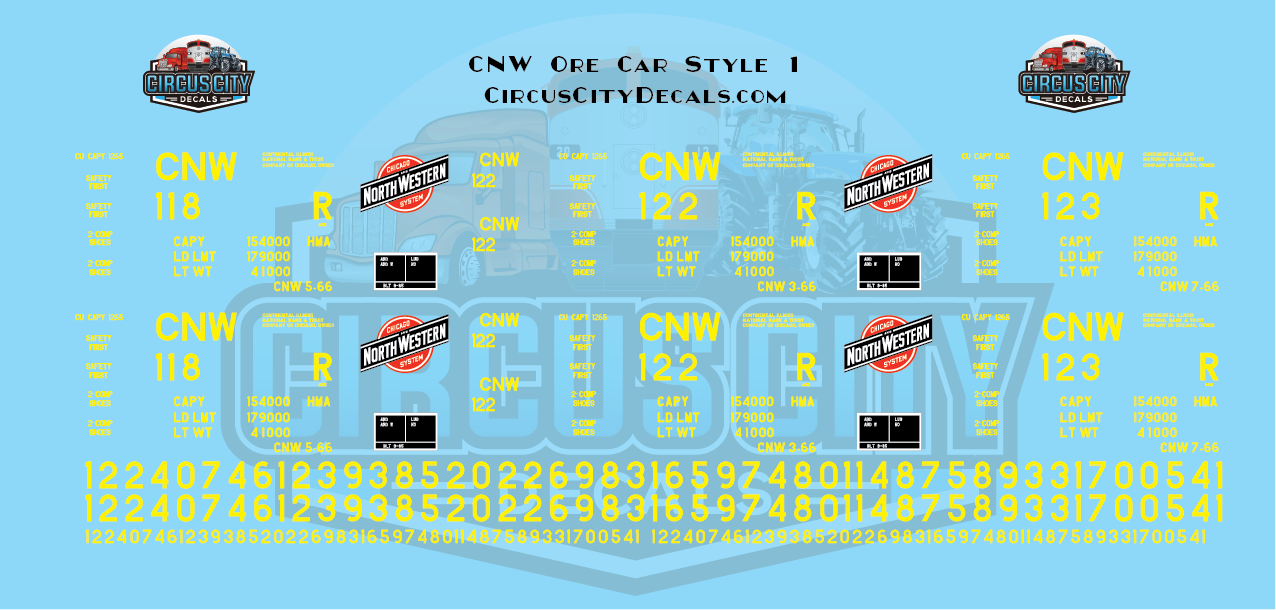 CNW Chicago & North Western Ore Car Yellow Block Style O Scale Decals Walthers Athearn Renumbering