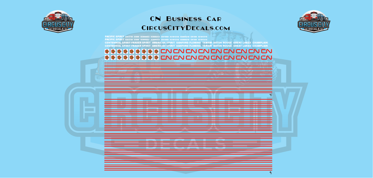 Canadian National CN Business Car HO Scale Decal Set