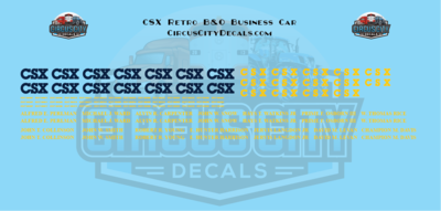 CSX Retro B&O Business Car HO Scale Decal Set