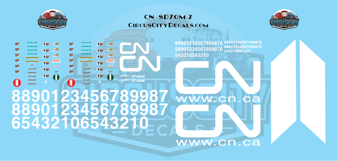 Canadian National SD70m-2 G Scale Decal Set