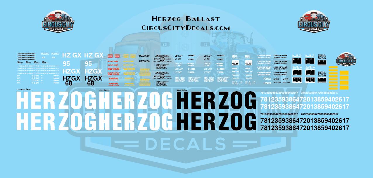 Herzog Ballast Hopper Decals HO Scale