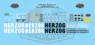 Herzog Ballast Hopper Decals HO Scale