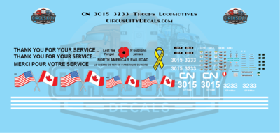 Canadian National Support Our Troops 3015 3233 ES44 Decal Set HO Scale Decal Set