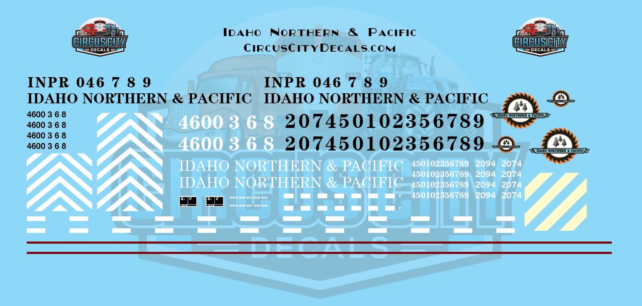 Idaho Northern & Pacific GP40 GP9 GP7 Caboose HO Scale Decal Set