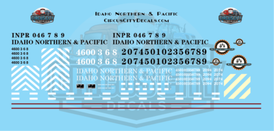 Idaho Northern & Pacific GP40 GP9 GP7 Caboose HO Scale Decal Set