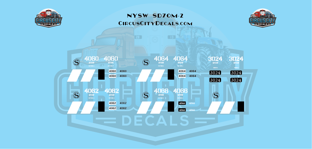 New York, Susquehanna and Western Railway NYSW SD70m-2 & SD40-2 NS Patch HO Decal
