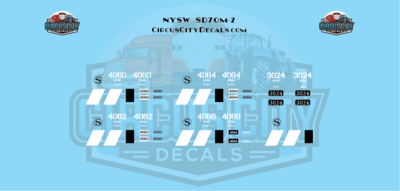 New York, Susquehanna and Western Railway NYSW SD70m-2 & SD40-2 NS Patch N Decal