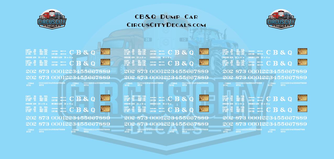 Chicago, Burlington & Quincy CB&Q Dump Car HO Scale Decal Set