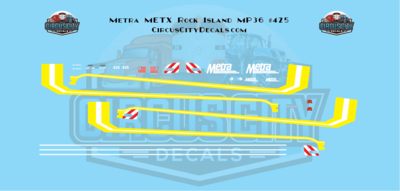 Metra METX Rock Island MP36 #425 N Scale Decal Set