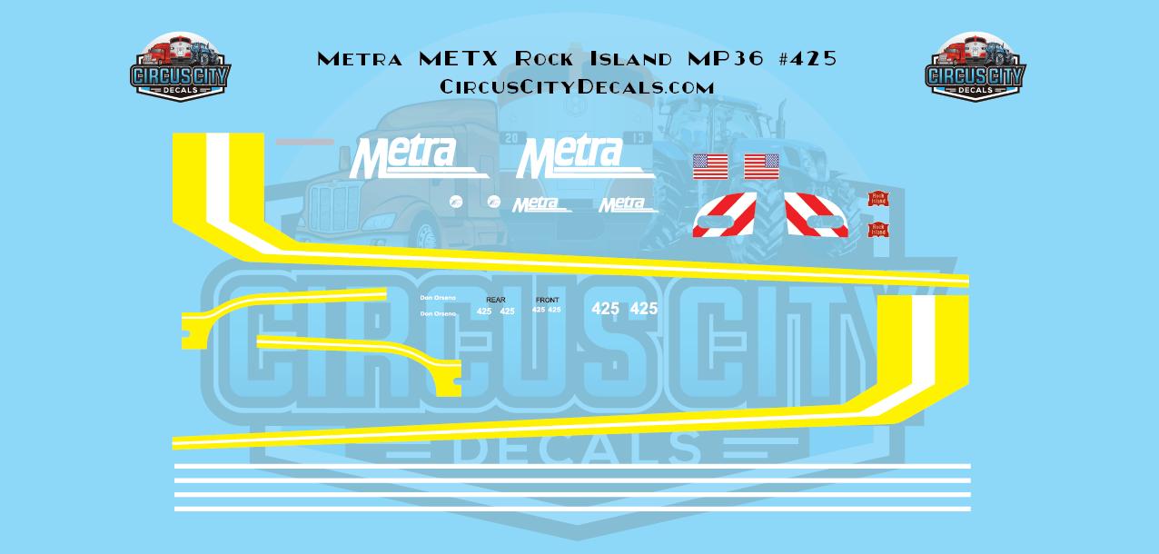 Metra METX Rock Island MP36 #425 HO Scale Decal Set