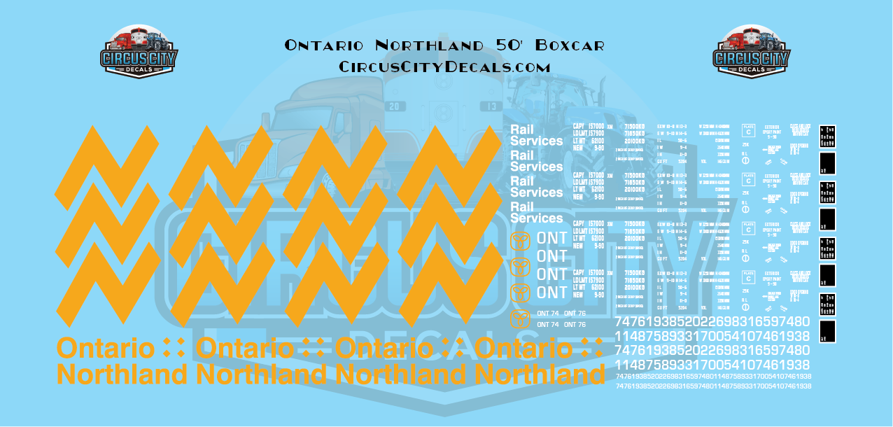 Ontario Northland 50' Boxcar N Scale Decal Set