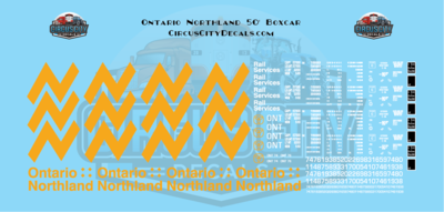 Ontario Northland 50' Boxcar HO Scale Decal Set