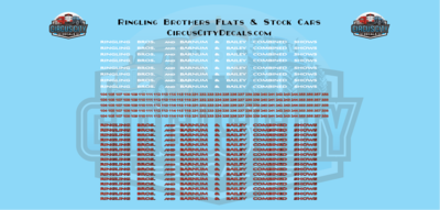 Ringling Bros. RBBB Circus Decals HO Flats & Stock Cars Ringling Brothers