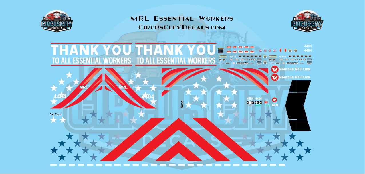 Montana Rail Link SD70ace Essential Workers 4404 N Scale Decal Set