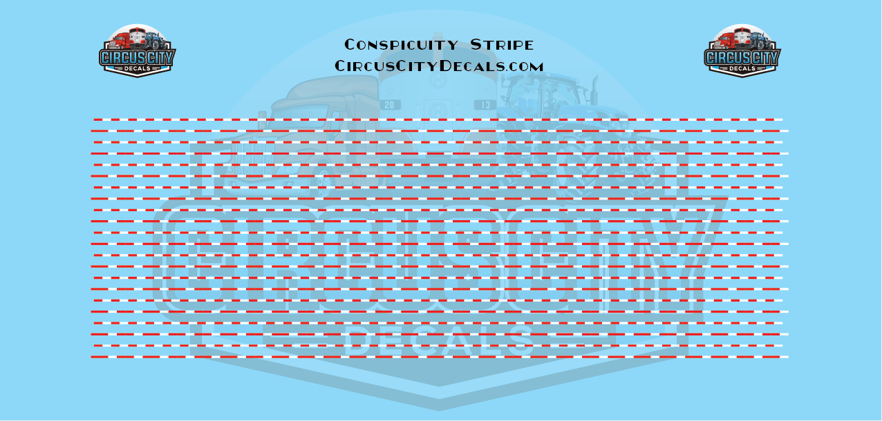 Conspicuity Stripe for HO Scale 1:87 Vehicles Red/White