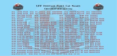 Union Pacific Heritage Fleet Car Names HO Scale Decals UP UPRR Walthers Size