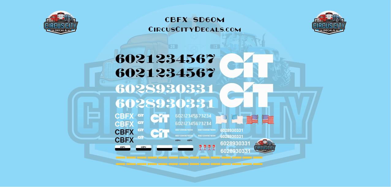 THE CIT GROUP/EQUIPMENT FINANCING INC CBFX SD60M EX-BN Burlington Northern HO Scale Decal Set