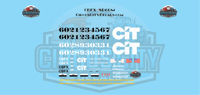 THE CIT GROUP/EQUIPMENT FINANCING INC CBFX SD60M EX-BN Burlington Northern O Scale Decal Set