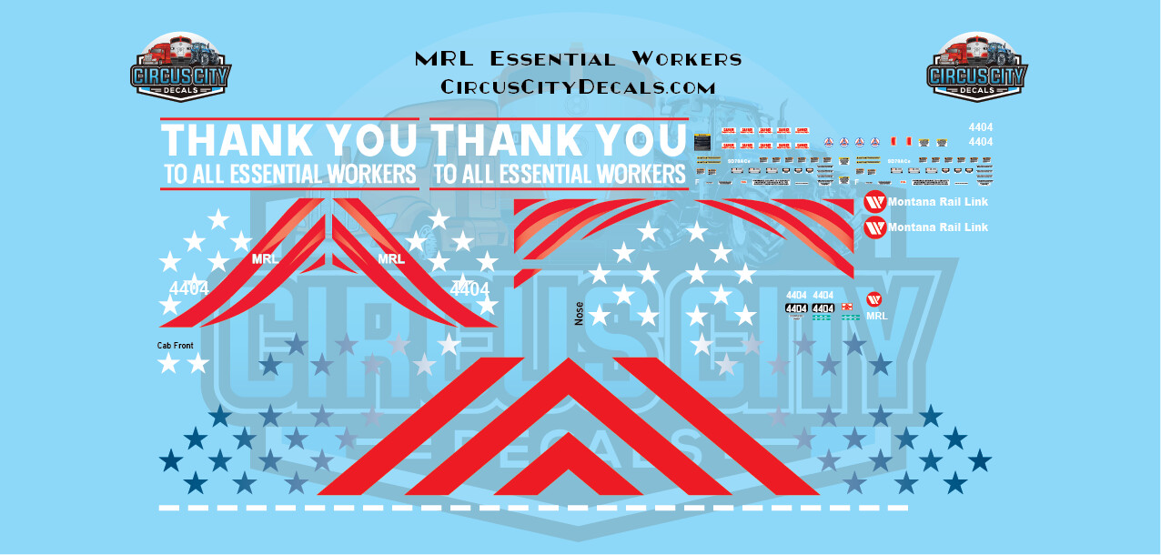 Montana Rail Link SD70ace Essential Workers 4404 G Scale Decal Set