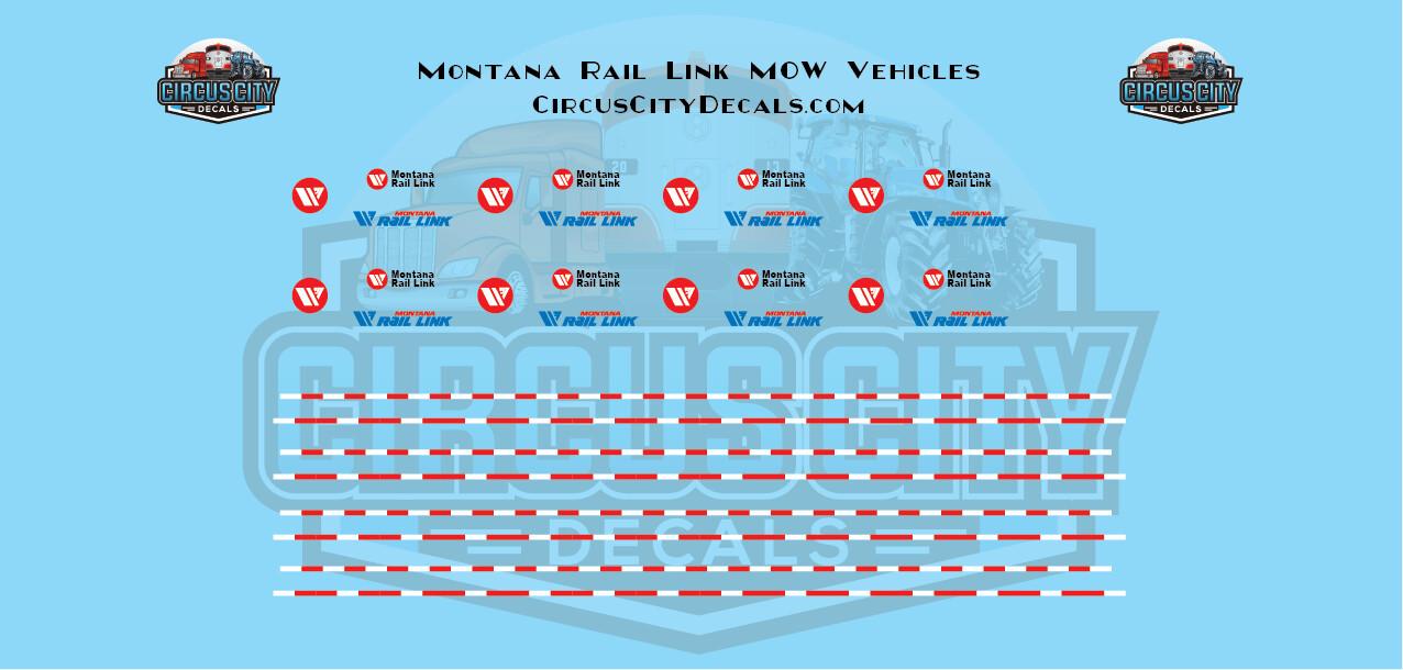 Montana Rail Link MOW Vehicles Trucks HO Scale Decal Set