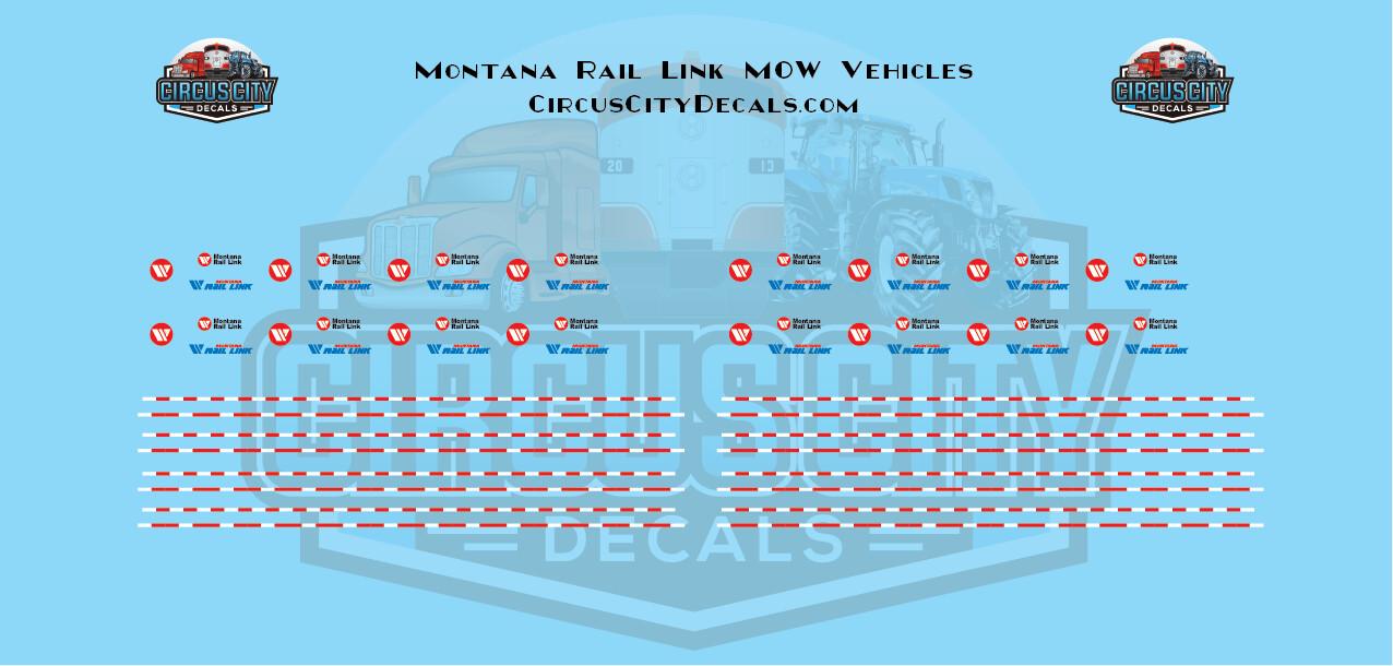 Montana Rail Link MOW Vehicles Trucks N Scale Decal Set