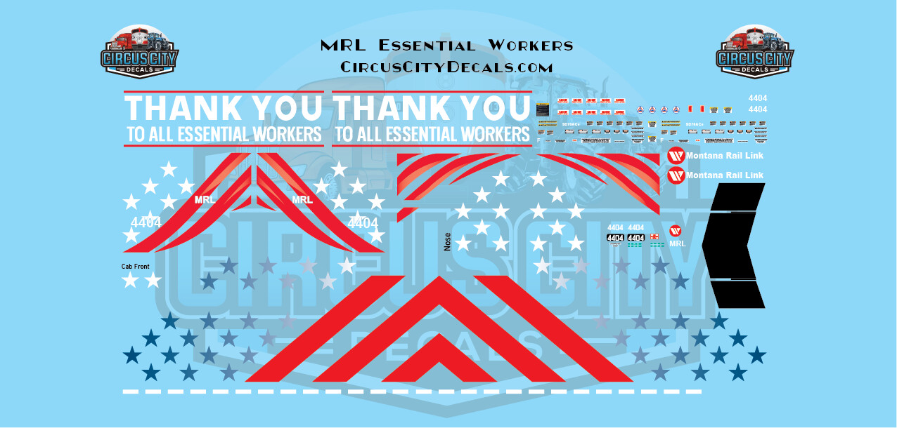 Montana Rail Link SD70ace Essential Workers 4404 HO Scale Decal Set