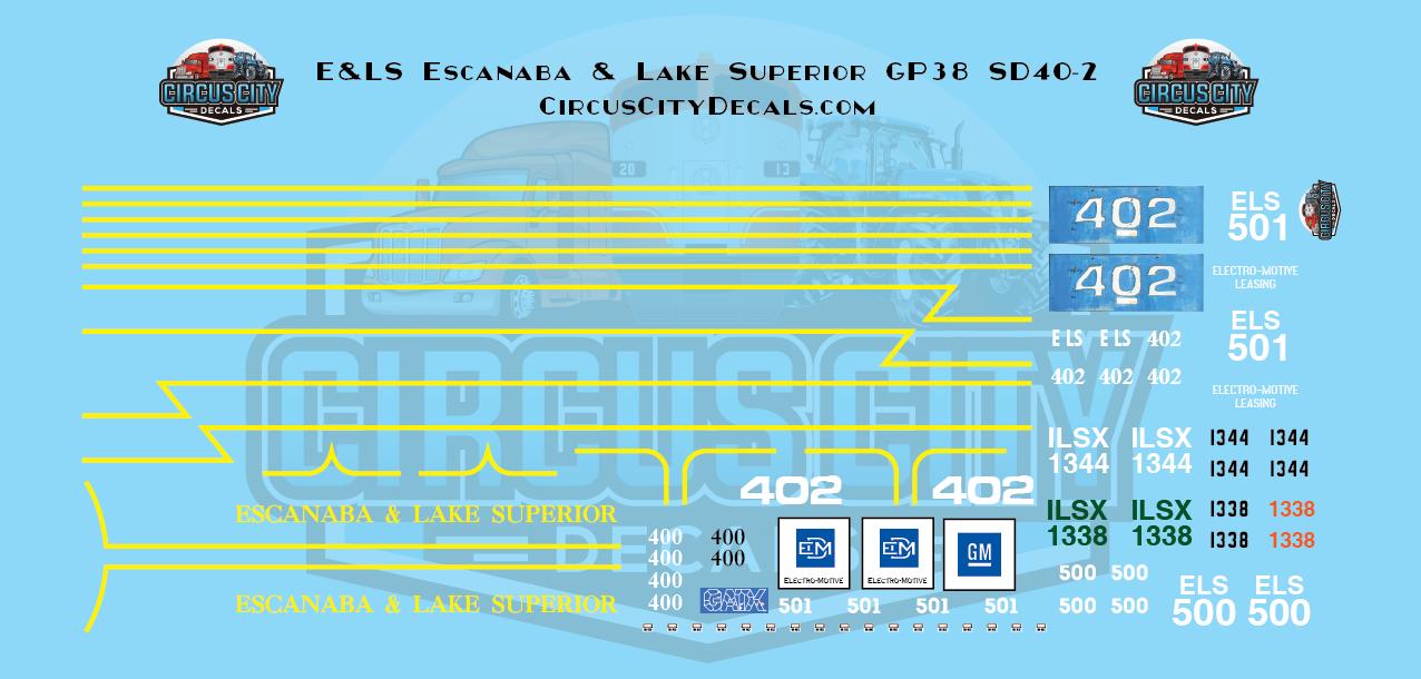 E&LS Escanaba & Lake Superior GP38 SD40-2 N scale Decal Set