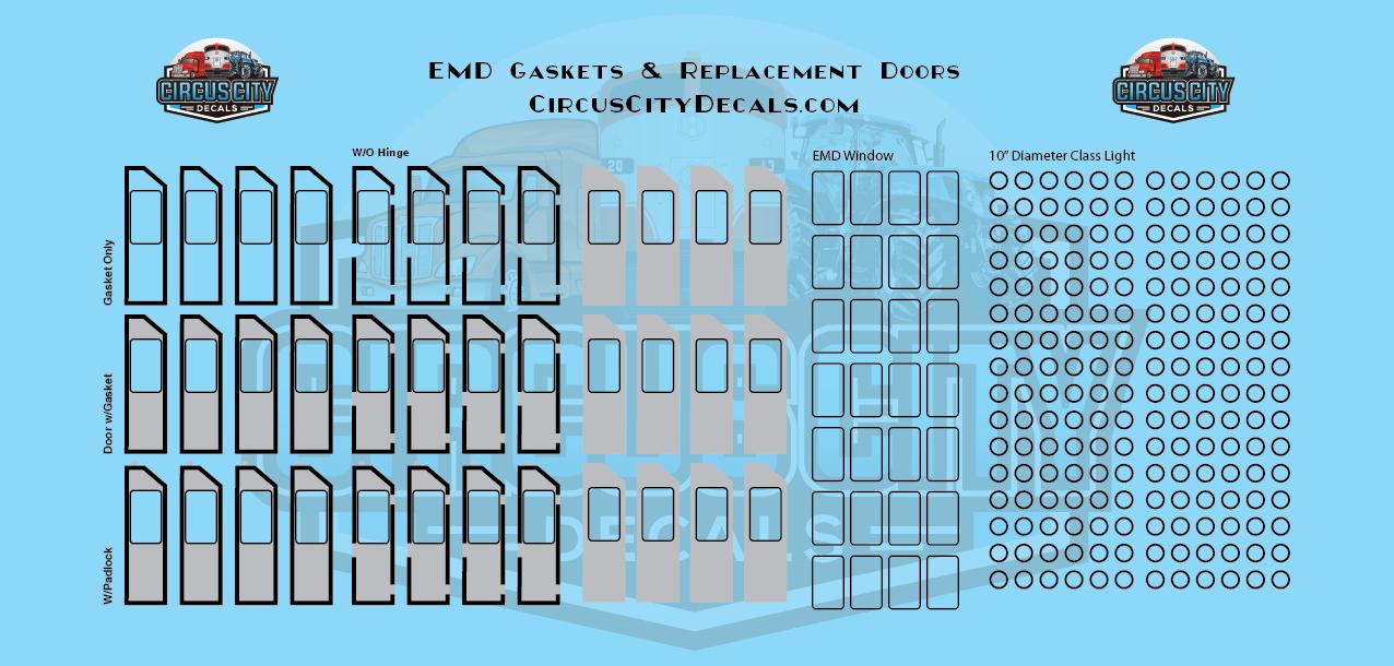 EMD GP & SD Class Light Gaskets & Replacement Door Decals HO Scale