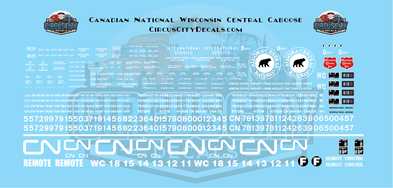 Canadian National CN Wisconsin Central WC Caboose HO Scale Decal Set